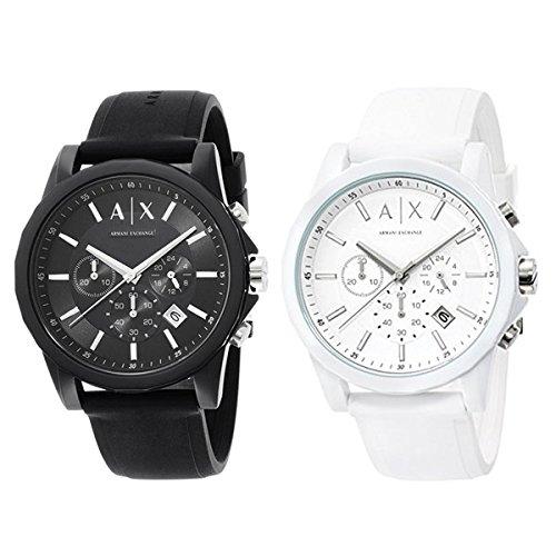 [アルマーニ・エクスチェンジ]ARMANI EXCHANGE ペアウォッチ ペアBOX付 Active クロノグラフ ブラック&ホワイト ラバー AX1326AX1325 腕時計 [並行輸入品]