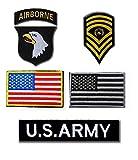 【5点セット】刺繍 ミリタリー バッチ アメリカ 陸軍 第101空挺師団 ワッペン 4点 アメリカ 国旗 付 ベルクロ タイプ