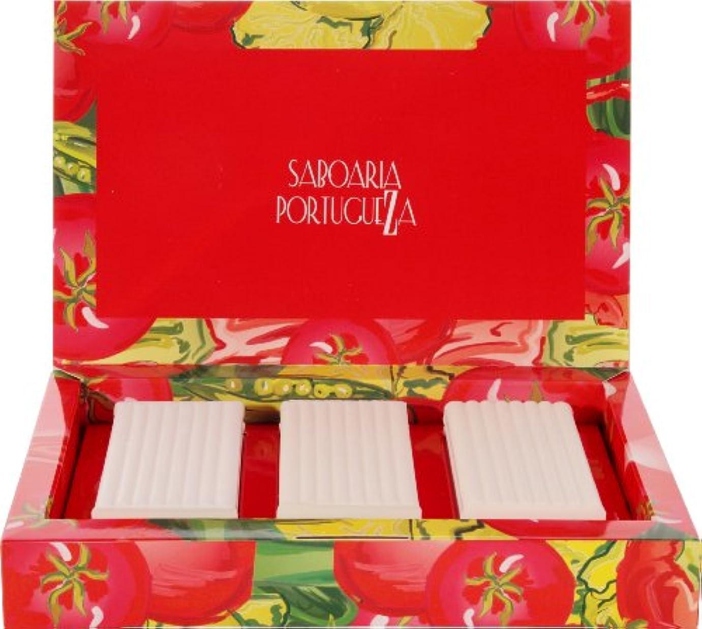 肌寒い化学薬品ジュニアサボアリア ソープセット3×180g トマト