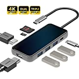 HARIBOL Triple Display USB C HUB with 2 HDMI, 8 in 1 USB-C Laptop Docking Station with 87W PD, 3 USB3.0, SD/TF Card Reader for iPad MacBook Air Pro Samsung and More (Triple Displays Only for Windows)