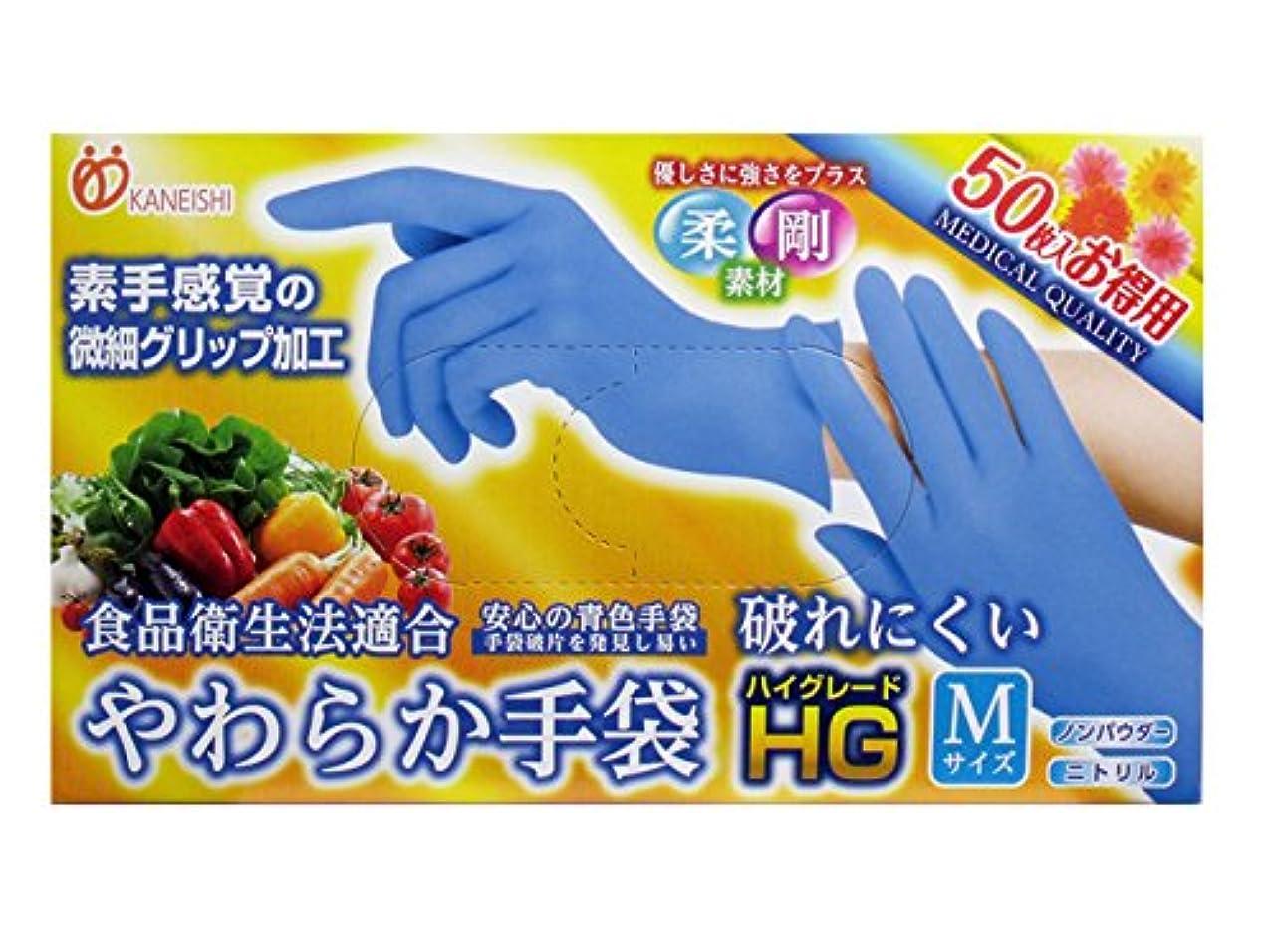 広告するイル一流使い捨て手袋【カネイシ やわらか手袋HG二トリル手袋 粉無スーパーブルー】500枚(50枚入X10箱) 3サイズ選択可 (Mサイズ)