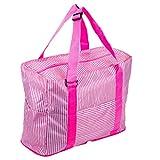 SORASION トラベル バッグ ストライプ 大容量 折りたたみ コンパクト スーツケース 取り付け 可能 全4色 防水加工 専用パッケージ セット (ピンク)