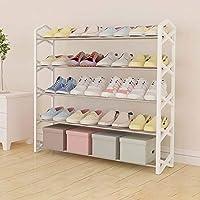 靴ラック - 簡単に5層の家庭で組み立てたシューズラック、簡単に20ペアの靴(ブラック/レッド/ホワイト)を収納可能2サイズ
