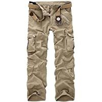 KINDOYO Men's Workwear Cargo Combat Long Pants(28 29 30 31 32 33 34 36 38 40) without belt