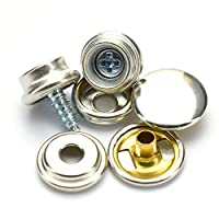 25 Set Snap Fastener Set - Brass Snaps, Caps, Sockets, Zinc Plated Screw Studs Boat Cover Press Snap Fastener Screw 3/8 Inches Snap Button Screw 10mm