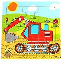 Yingealy 知的発達 キュート 木製 知育パズル 早期学習 数字の形 カラー 動物玩具 子供への素晴らしいギフト (掘削機)
