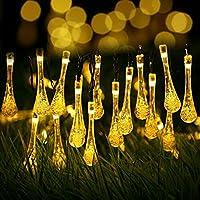 イルミネーションライト REAK ソーラー式 ledイルミネーション 光センサー内蔵 6m 30球 2点滅モデル クリスマス ライト 飾りライト ソーラーLEDストリングライト 水滴形 しずく型 クリスマス、パーティー、ハロウィン飾り大活躍! (ウォームホワイト)