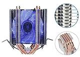 upHere Intel/AMD両CPU対応 サイドフロー型CPUクーラー デュアルファン 青いLED インテルCPU専用 PWM仕様 静音
