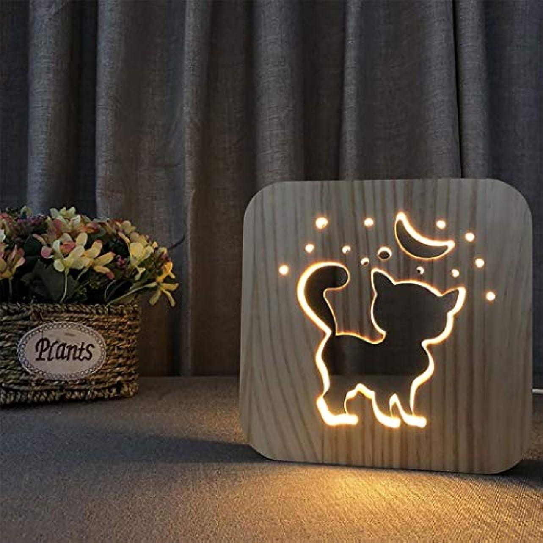 匿名鹿記述するLedテーブルランプ、3d木製ランプusb充電猫漫画ナイトライトホームベッドルームの装飾ランプの横に、子供のためのギフト大人の女の子男の子
