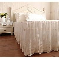 ベッドスカート 綿100% スカート部分が二層 外層がシフォン 刺繍模様 アイボリー (セミダブル)