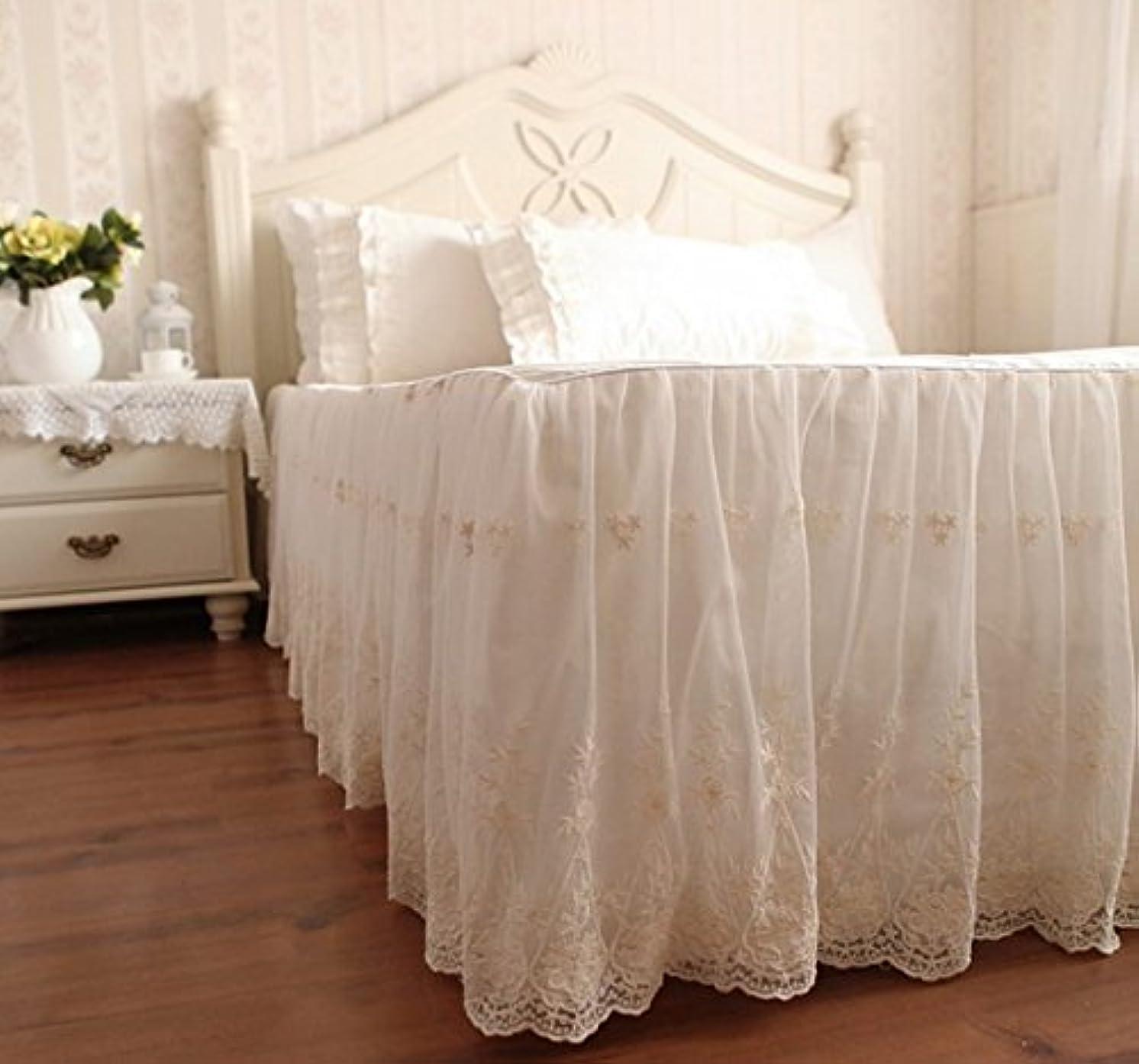 求める征服する活気づくベッドスカート 綿100% スカート部分が二層 外層がシフォン 刺繍模様 アイボリー (クイーン)