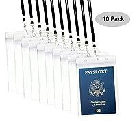 パスポートバッジホルダーwith Extra PVC IDカードホルダーand Woven Lanyards理想的なクルーズ、ハワイアンby Cypes 10Pack Black Lanyards ブラック