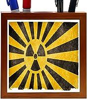 Rikki Knight Nuclear Burst Black and Yellow on Grunge Design 5-Inch Tile Wooden Tile Pen Holder (RK-PH9172) [並行輸入品]