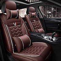 KBZW 車のシートカバー、5席ユニバーサル防水レザーカーシートクッション、ヘッドレストと腰椎枕用フロントとリアシート (Color : Brown)