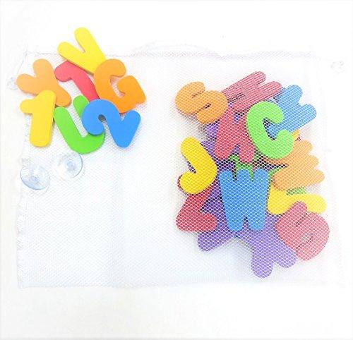 【ぴぴっと】 お風呂 おもちゃ 英語の勉強 壁掛けネット すっきり収納セット アルファベット 数字 吸盤
