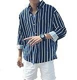 (オンリカ) Orika メンズ ストライプシャツ 文芸 ゆったり 長袖 シャツ ジャケット メンズ 綿 シャツ コート(A5ブルー)
