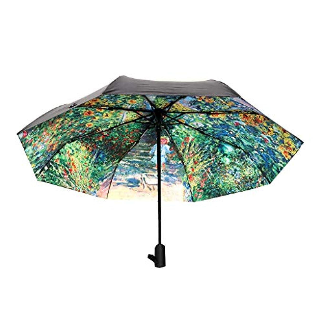 管理する仲人抱擁日傘傘折りたたみ自動モネガーデン油絵