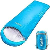 Sable 寝袋 シュラフ 封筒型 長さ225×幅75cm 最低使用温度-5度 軽量 防水 アウトドア 登山 キャンプ 車中泊 防災避難用 丸洗い可 収納袋付き ブルー SA-PS046