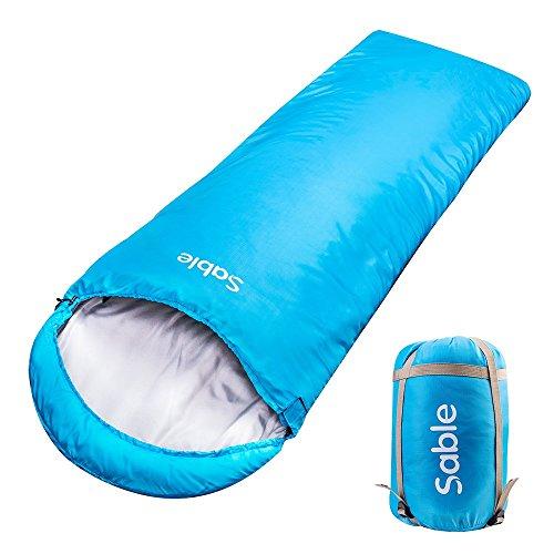 Sable 寝袋 シュラフ 封筒型 長さ225×幅75cm 最低使用温度-5度 軽量 防水 アウトドア 登山 キャンプ 車中泊 防災避難用 丸洗い可 収納袋付き ブルー SA-PS046 (ブルー)