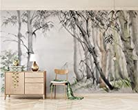Wuyyii カスタム3D壁紙エレガントな手描きの素材竹林テレビの背景の壁3D壁紙壁画-150X120Cm