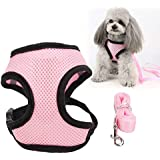 Tongke Cat/Dog Harness and Leash Set,[1 Pack] Adjustable Small Vest Harnesses for Cats with 46 Inches Leash, Small Kitten Leash Harness with Reflective Strips and 1 Metal Leash Ring, Pink,S