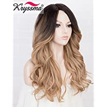 K'ryssma L Deep Part Blonde Synthetic Wig Ombre with Dark Root Medium Length Wavy Honey Blonde Wigs for Women Heat Resistant(#27)