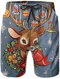 メリークリスマス トナカイ メンズ サーフパンツ 水陸両用 水着 海パン ビーチパンツ 短パン ショーツ ショートパンツ 大きいサイズ ハワイ風 アロハ 大人気 おしゃれ 通気 速乾