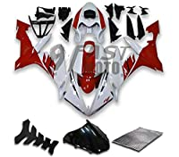 9FastMotoyamaha ヤマハ 2004 2005 2006 YZF-1000 R1 04 05 06 YZF 1000 R1 用フェアリング オートバイフェアリングキット ABS 射出成形セット スポーツバイク カウル パネル (レッド & ホワイト) Y1082