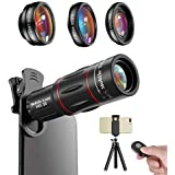 Apexel Phone Photography Kit-Flexible Phone Tripod +Remote Shutter +4 in 1 Lens Kit-High Power 18X Monocular Telephoto Lens, Fisheye, Macro & Wide Angle Lens for iPhone X 8 7 6 Plus Samsung Smartphone