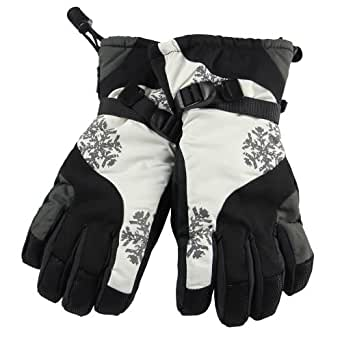 【WARMEN】メンズ(男性用) スキーグローブ  手袋 てぶくろ スノーボードグローブ  大人用 防水 防寒 防風 アジャスターバンド ゴムバンド スノーファッション SX002 (L, 白黒)
