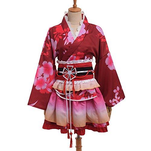 BLESSUME 和服 ミニ コスプレ 浴衣 上着 ショート かわいい 羽織 着物ドレス 花魁ドレス 夏祭り 花火大会 和服コスプレ コスチューム (赤)