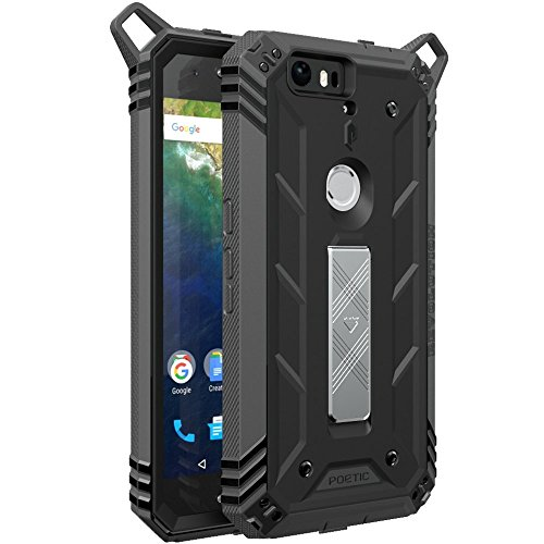 Nexus 6P ケース ‐Poetic [Revolution シリーズ] - グーグル ネクサス シックス P 対応 黒 ブラック / ダークグレー 耐衝撃 強化 デュアルプロテクション 耐水 耐塵 設計 キックスタンド付き (3年保証)
