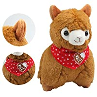 KSB 7.3 Brown Small Cute Soft Stuffed Plush Alpaca Heart-Shaped Scarf Cushion Toy DollBest Birthday Gifts For The Children Kids Over 2 Years [並行輸入品]