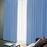 窓美人 エール 遮光性カーテン&UVカットミラーレース 各2枚 幅100×丈200(198)cm スカイブルー