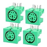 uxcell S-ビデオアダプタソケット メスタイプ 精密製コネクター 6ピン グリーン シルバートーン 4個入り