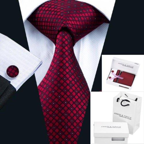 KOZOU 100% シルクネクタイ 新しいスタイルのメンズ ネクタイセット ギフトボックス Tie + Hanky +カフスボタンセット