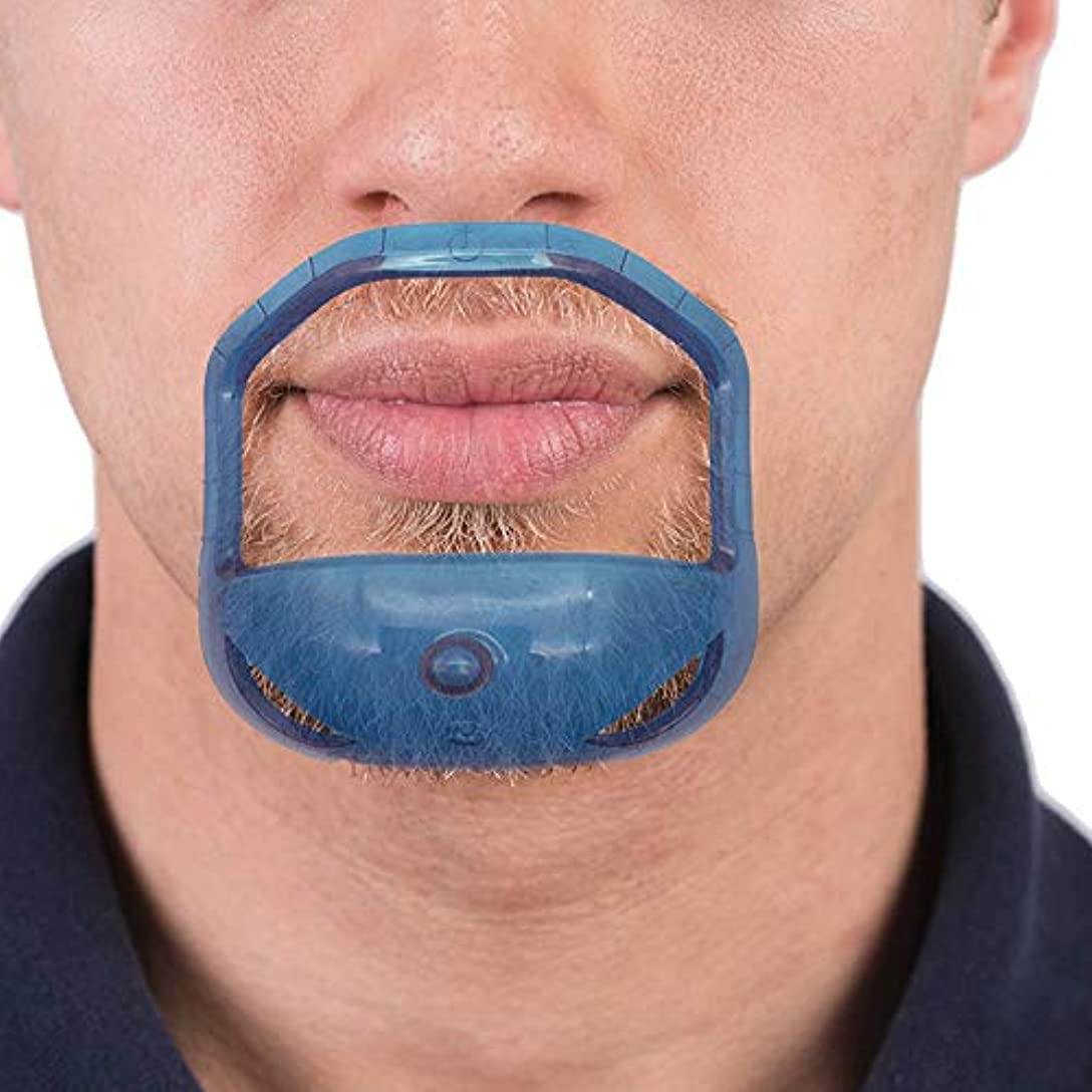削る忠誠頻繁にVaorwne 5ピース/セット 対称カットあごひげ ネックライン口ひげ グルーミングひげスタイリングケアひげシェーピングシェービングツール - クリアブルー