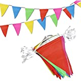 Flushbay 三角旗 ガーランド 160m カラフル ガーランド キャンプ パーティー誕生日 結婚式 運動会装飾 体育祭 お祭りデコレーション 店舗装飾 ナイロン製 5色 300枚フラッグ