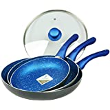 3pc Frypan Set, Non-Stick with 28cm Lid, Blue Stone coted, Induction, Fry pan, Frying Pan