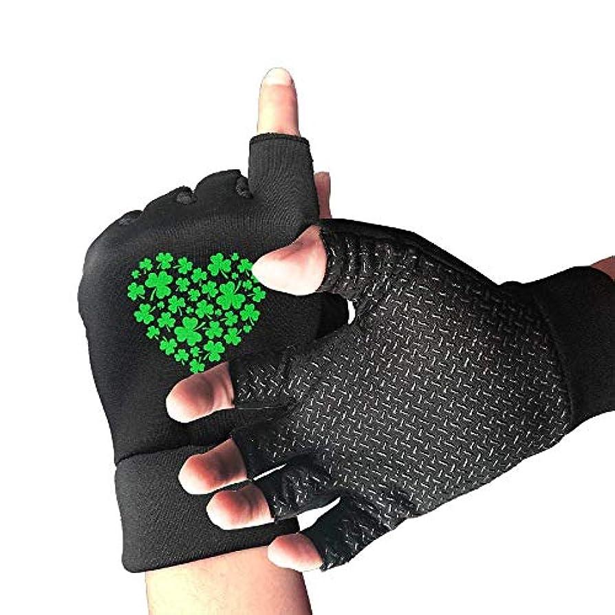 鑑定裂け目マークされたCycling Gloves Green Clovers Heart ST. Patrick's Men's/Women's Mountain Bike Gloves Half Finger Anti-Slip Motorcycle...