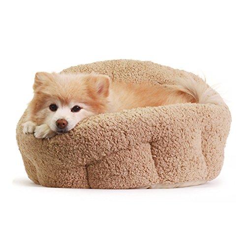 洗える ペット用 ベッド/クッション 小型犬 猫 ふわモコ 伸縮性に富んだ暖かいベッド (ベージュ)
