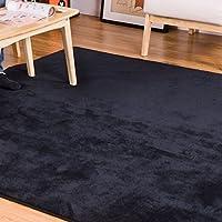 (OSJ)ラグ カーペット ラグマット 絨毯 マイクロファイバー ラグ 滑り止め 洗える ウォッシャブル ホットカーペット対応 フロアマット チェアマット モダンラグ 140X200cm 6色選べる (ブラック)