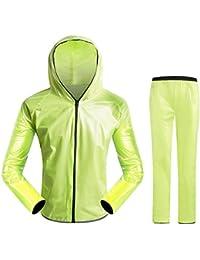 ZEMIN レインコート ポンチョ レインウェア スリッカー ウインドブレーカー 防水 カバー ユニセックス セット ズボン ライディング ポリエステル、 6サイズ、 4色使用可能 (色 : 緑, サイズ さいず : L l)