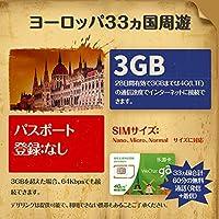 プリペイドSIMカード ヨーロッパ33ヵ国周遊 28日間 4G(LTE) 3GBデータ通信+60分の無料通話 ER-28D-3GB