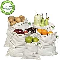 Muslin Organic Cotton Reusable Produce Bags - Set of 6 (2 Large, 2 Medium, 2 Small) by Organic Cotton Mart