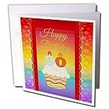 バースデーデザイン–カップケーキwith数キャンドル、90年古い誕生日–グリーティングカード Individual Greeting Card