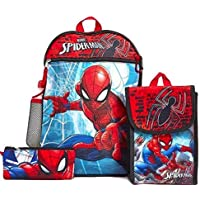 Spiderman Kids Backpack 5 pc Lunch Bag Pencil Case Waterbottle Ring Clip