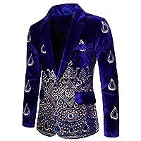 cheelot メンズビジネスワンボタン刺繍ノッチラペルプレミアムコートジャケット Sapphire Blue XL