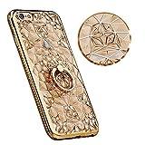 Best 6SのためのiPhone 6友人のためのケース - iphone 6/6s ダイヤモンド電話シェル、高級軽量超薄型 [TPU] 材料3d 結晶フラワーリングソフトシェル保護背面カバー電話シェル (4.7, ゴールデン) Review