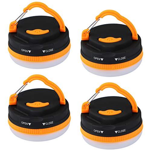 Dreampark LEDランタン 電球色 小型 4個セット5つ調光モード 懐中電灯 電池 キャンプライト 防水 アウトドア ハイキング 登山 夜釣り 防災対策